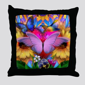 Big Pink Butterfly & Sunflowers Throw Pillow