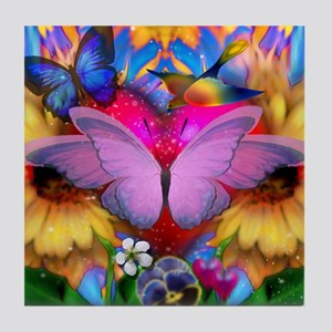 Big Pink Butterfly & Sunflowers Tile Coaster
