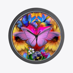 Big Pink Butterfly & Sunflowers Wall Clock