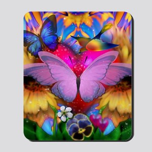 Big Pink Butterfly & Sunflowers Mousepad