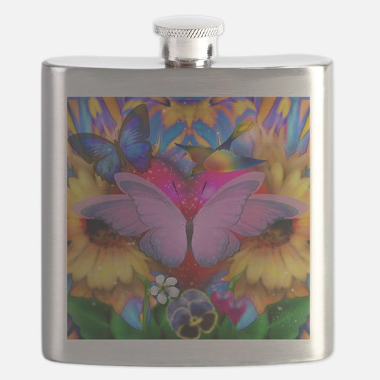Big Pink Butterfly & Sunflowers Flask