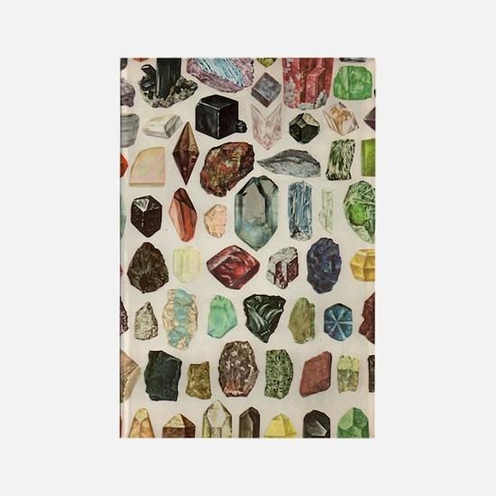 Vintage Geology Rocks Gems Gemsto Rectangle Magnet