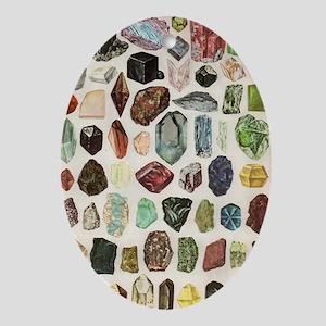 Vintage Geology Rocks Gems Gemstones Oval Ornament