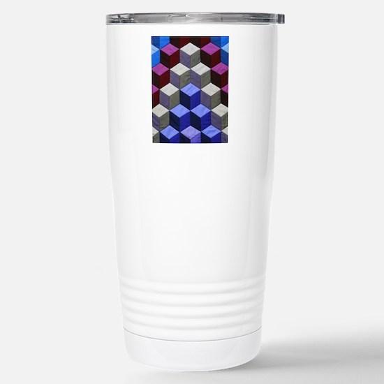 3-D Block Quilt Travel Mug