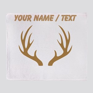 Custom Brown 12 Point Deer Antlers Throw Blanket