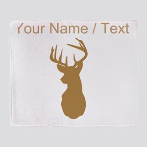 Custom Brown Buck Hunting Trophy Silhouette Throw