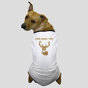 Custom Brown Buck Head Dog T-Shirt