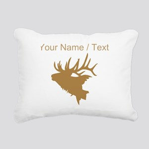 Custom Brown Elk Head Rectangular Canvas Pillow