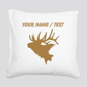 Custom Brown Elk Head Square Canvas Pillow