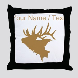 Custom Brown Elk Head Throw Pillow