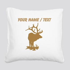Custom Brown Elk Silhouette Square Canvas Pillow