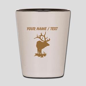 Custom Brown Elk Silhouette Shot Glass