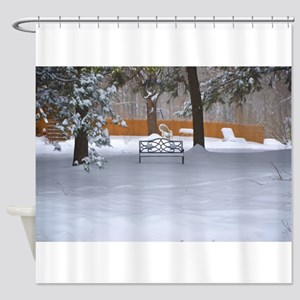 Garden bench with snow Shower Curtain