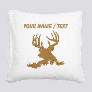 Custom Brown 12 Point Buck Square Canvas Pillow