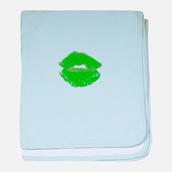 Kiss Me Im Irish Green Pucker Lips 23 baby blanket