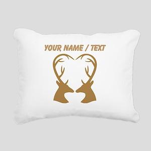 Custom Brown Deer Antlers Heart Rectangular Canvas