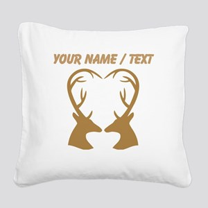 Custom Brown Deer Antlers Heart Square Canvas Pill