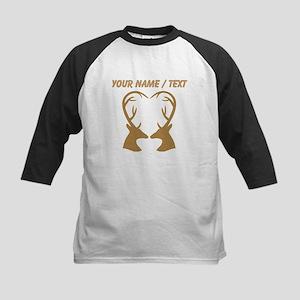 Custom Brown Deer Antlers Heart Baseball Jersey