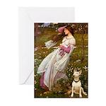 Windflowers Bull Terrier Greeting Cards (Pk of 10)