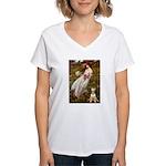 Windflowers Bull Terrier Women's V-Neck T-Shirt
