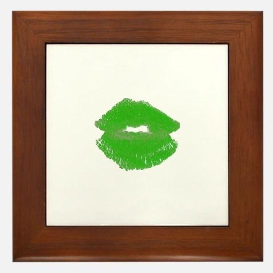 Kiss Me Im Irish Green Pucker Lips 23 Framed Tile