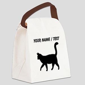 Custom Housecat Silhouette Canvas Lunch Bag