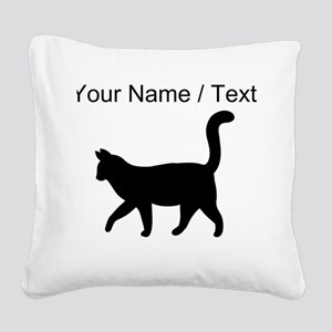 Custom Housecat Silhouette Square Canvas Pillow