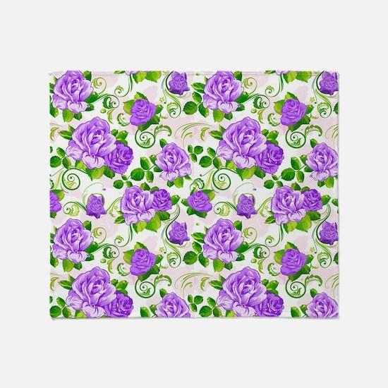 Elegant Vintage Purple Roses White 2 Throw Blanket