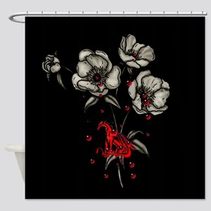 Dragonblood and Flowers Shower Curtain