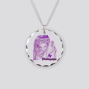 Fibromyalgia Girl Necklace Circle Charm