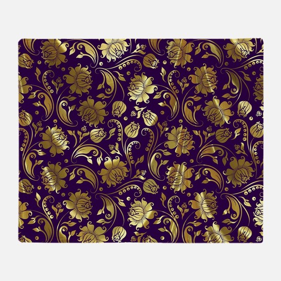 Elegant Purple And Gold Floral Damas Throw Blanket