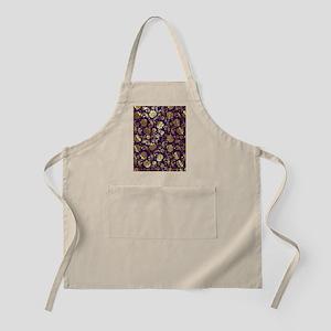Elegant Purple And Gold Floral Damasks Monog Apron