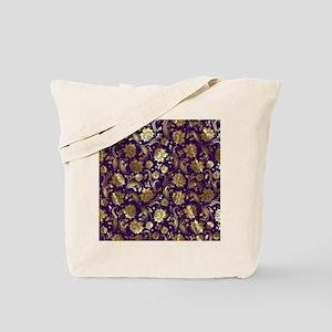 Elegant Purple And Gold Floral Damasks Mo Tote Bag
