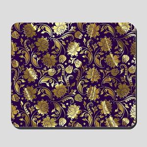 Elegant Purple And Gold Floral Damasks M Mousepad