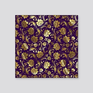 "Elegant Purple And Gold Flo Square Sticker 3"" x 3"""