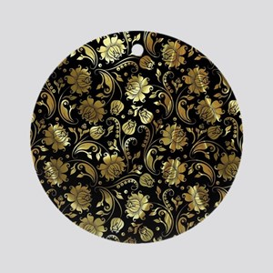 Black And Gold Floral Damasks Round Ornament