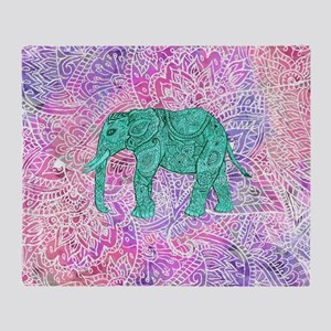 Teal Tribal Paisley Elephant Purple  Throw Blanket