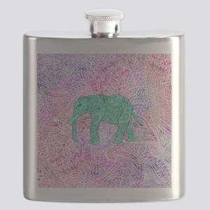 Teal Tribal Paisley Elephant Purple Henna Pa Flask
