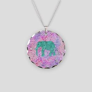 Teal Tribal Paisley Elephant Necklace Circle Charm