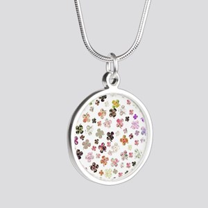 Saint Patrick Irish Floral C Silver Round Necklace