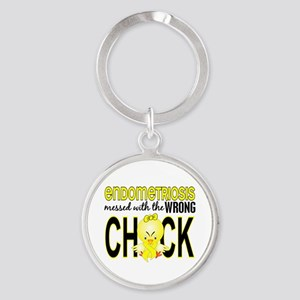 Messed With Wrong Chick Endometrios Round Keychain
