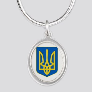 Ukrainian Coat of Arms Silver Oval Necklace