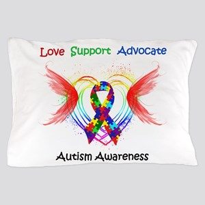 Autism Ribbon with Wings Pillow Case