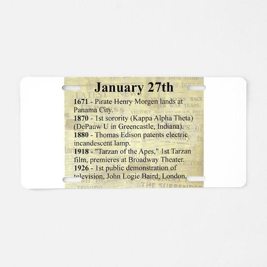 January 27th Aluminum License Plate