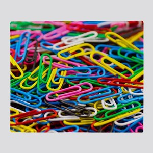 Colorful Paperclips Throw Blanket