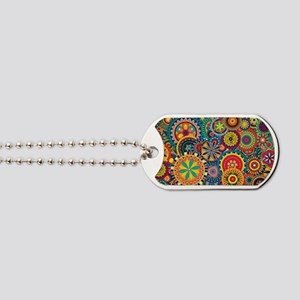 Colorful Floral Pattern Dog Tags