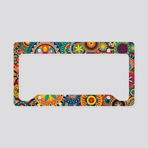Colorful Floral Pattern License Plate Holder