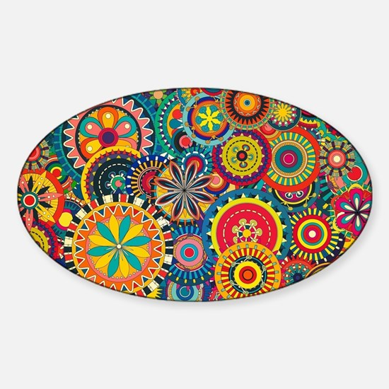 Colorful Floral Pattern Sticker (Oval)