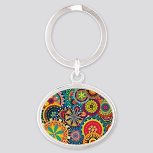 Colorful Floral Pattern Oval Keychain