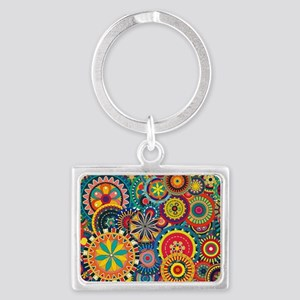 Colorful Floral Pattern Landscape Keychain